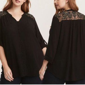 Torrid Embroidered Lace Button Front Blouse Black